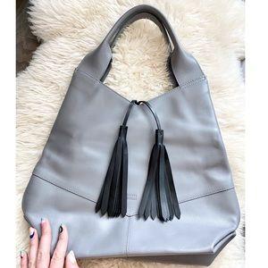 Joanna Maxham Gray Leather Tassel Shoulder Bag